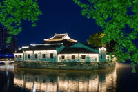 traditional ancient buildings in jiujiang at night