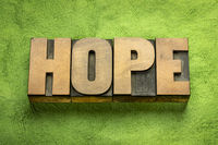 hope word in vintage wood type