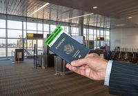 Concept of Covid-19 immune certificate and US passport to show immunity to virus at airport
