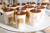 Many portions of tiramisu in a candy bar