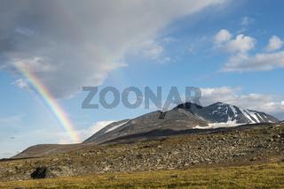 Regenbogen am Sarektjahkka, Sarek Nationalpark, Welterbe Laponia, Lappland