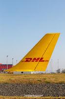 DHL Hub Flughafen Leipzig Halle LEJ Airport Flugzeug Seitenleitwerk