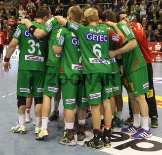 Auszeit SC Magdeburg im Bundesligaspiel Saison 2013/14 SC Magdeburg-TUS N-Lübbecke