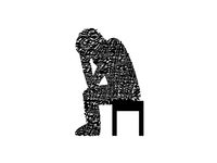 human in depression on white background - 3d rendering