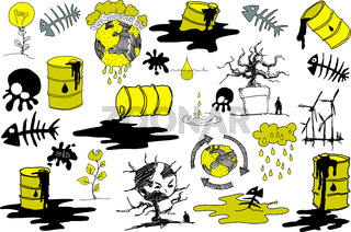 many sketches and doodles regarding pollution and environment