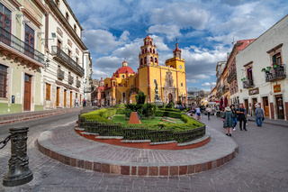 Guanajuato, Mexico - February 26, 2020: Plaza de la Paz and Basilica of Our Lady of Guanajuato cathedral.