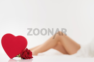rotes herz mit rose vor beinen