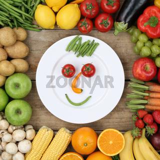 Gesunde vegane Ernährung lachendes Gesicht aus Gemüse