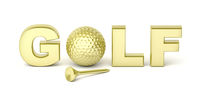 Golden golf ball and tee