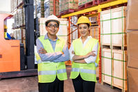 Portrait of Warehouse manager and worker