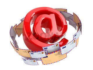 E-mail concept. At symbol and envelopes isolated on white background