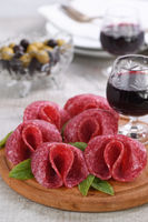 light meal snack from salami