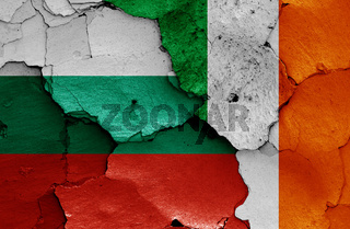flags of Bulgaria and Ireland painted on cracked wall