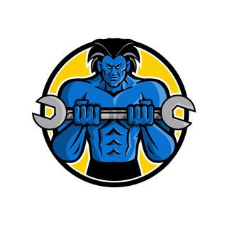 Blue Muscular Monster Wrench Mascot