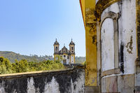 Historic churches in perspective in Baroque and colonial style from the 18th century in the city of Ouro Preto