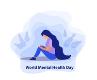 World Mental Health Day. Girl in sadness, depression concept. Isolated on a white background. Vector illustration