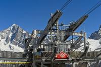 Seilbahnstation Planpraz vor dem Montblanc Massiv, Chamonix, Hochsavoyen, Frankreich