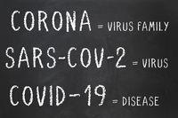 Corona virus sars-cov-2 and covid-19 explained on chalkboard