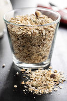 Muesli cereals. Healthy breakfast with oats flakes.