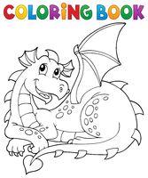 Coloring book lying dragon theme 1