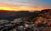 Rocky mountain sunset at Mount Victoria Australia