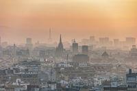 Barcelona Spain, aerial view sunrise city skyline at city center