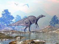 Saurolophus dinosaur walking - 3D render