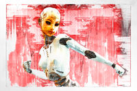 Artistic 3D illustration of a female cyborg