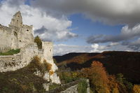 Ruins of Hohenurach Castle in countryside near old town of Bad Urach, Germany