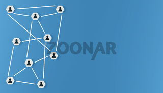 Abstract teamwork, network and community concept on a blue background
