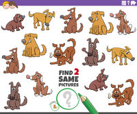 find two same dogs educational game for children