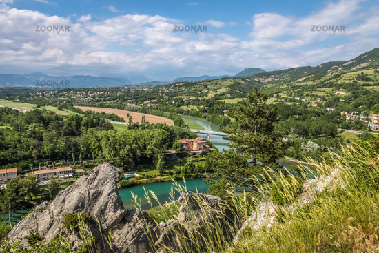 View of the Durance river near the village of Sisteron