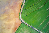 Farm land and meadow  aerial view