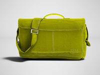 Modern yellow shoulder bag 3d rendering on gray background with shadow