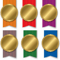 Colorful Medal Set With White Background