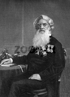 Samuel Finley Breese Morse (1791-1872) on engraving from 1873. American painter and inventor. Engraved by unknown artist and published in ''Portrait Gallery of Eminent Men and Women with Biographies''