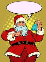 Santa Claus medical mask. Call to be healthy
