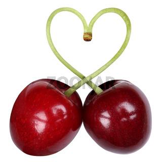 Kirschen formen ein Herz Thema Liebe