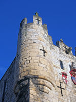a close up of a corner turret on Micklegate Bar the 12 century gatehouse and southern entrance to the city of york