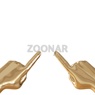Two golden hands in extended index finger on a white background. 3d rendering