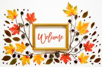 Colorful Autumn Leaf Decoration, Golden Frame, Text Welcome