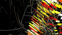 Abstract science fiction futuristic background with round structure connected with strings. Selective focus macro shot with shallow DOF 3d illustration