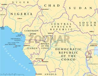 West-Zentralafrika Landkarte