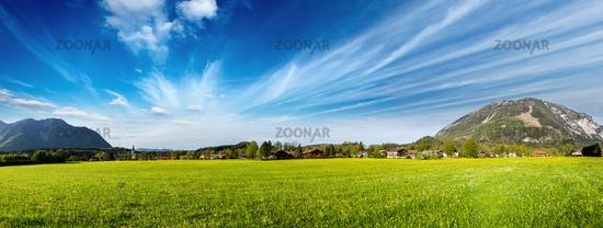 Panorama of German countryside and village. Bavaria