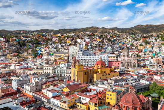 Panoramic view of Guanajuato, Mexico. UNESCO World Heritage Site.
