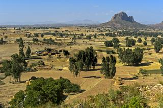 Landschaft mit erodiertem Tafelberg im Hochland von Abessinien, Tigray, Äthiopien