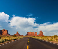 Empty scenic highway in Monument Valley