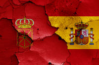 flags of Navarre and Spain painted on cracked wall