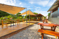 Panama Boquete outdoor tables of a restaurant