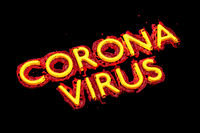 covid 19 coronavirus lettering made by red blood and yellow plastic. 3d illustration second wave concept